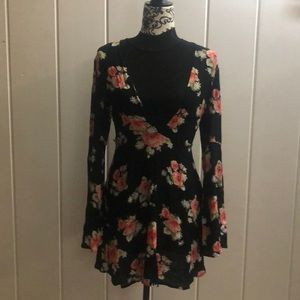 Size S. black floral dress.  New with tags